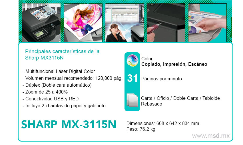 Caracteristicas-Sharp-MX31115N