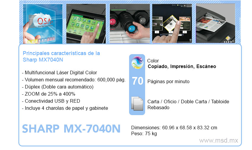 Caracteristicas-Sharp-MX7040N
