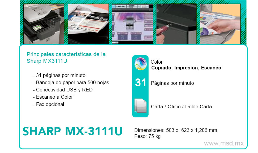 Especificaciones-Sharp-MX3111U