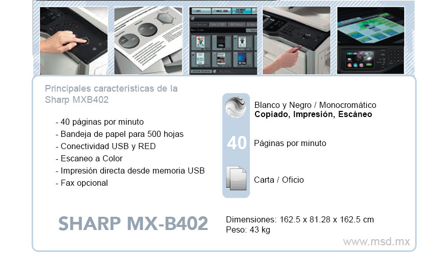 Especificaciones-Sharp-MXB402