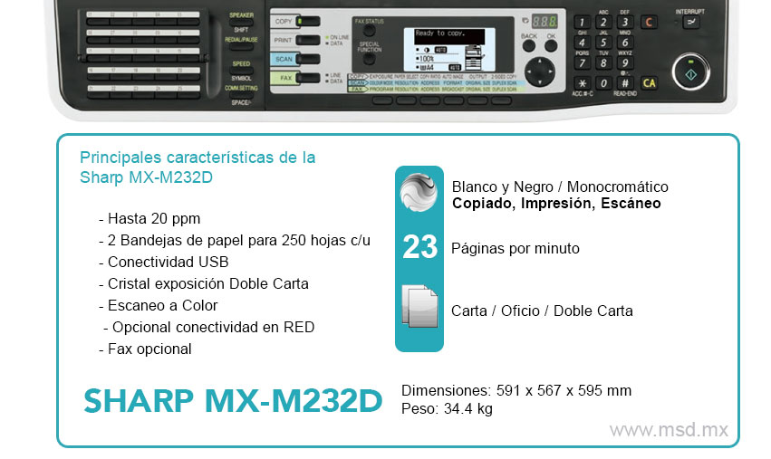 Especificaciones-Sharp-MXM232D