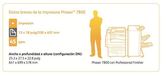 Phaser 7800 Especificaciones