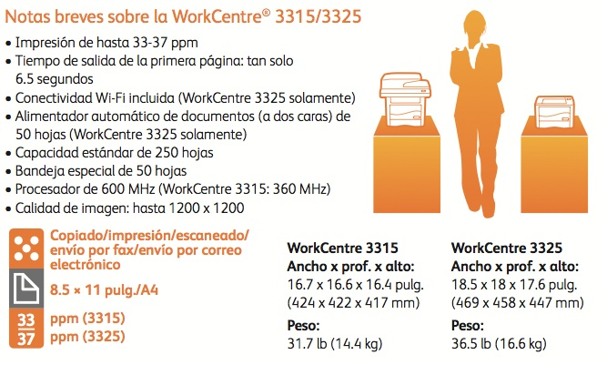Xerox WorkCentre 3315 especificaciones