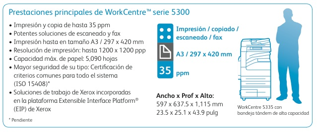 Xerox WorkCentre 5325 5330 5335 especificaciones