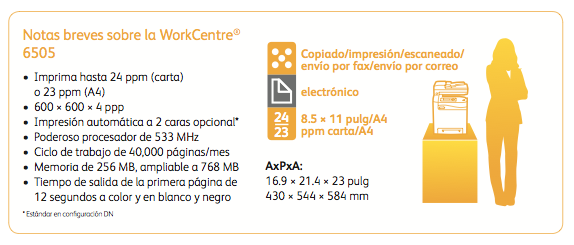 Xerox-WorkCentre-6505-especificaciones