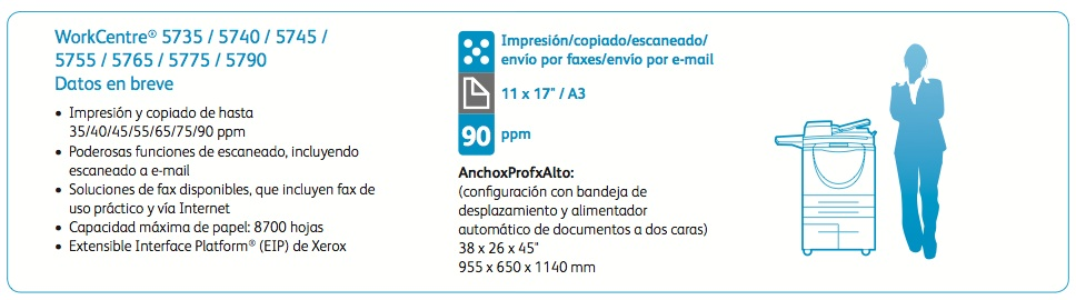 Xerox WorkCentre Serie 5700 especificaciones