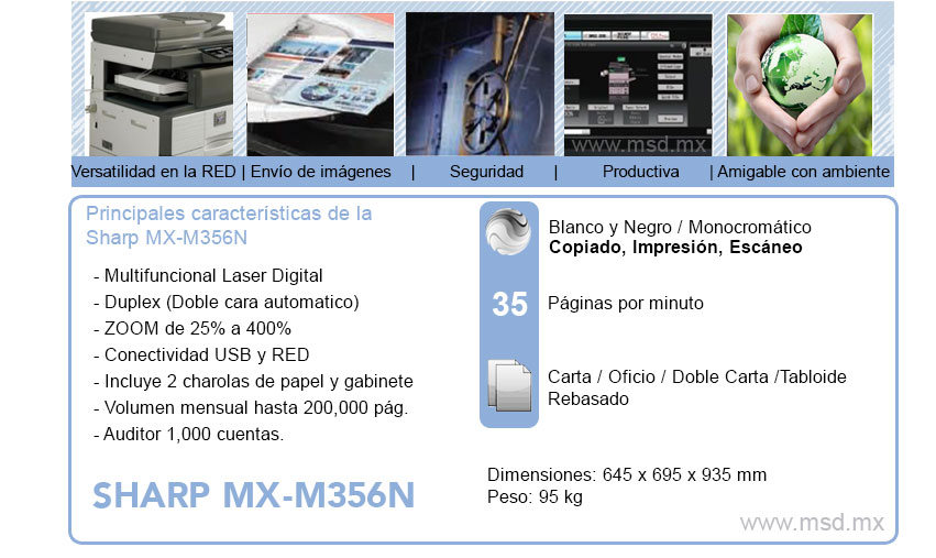 especificaciones sharp mxm356n